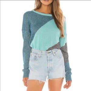 WILDFOX Tidal Wave Sydney Sweater Blue Size Small